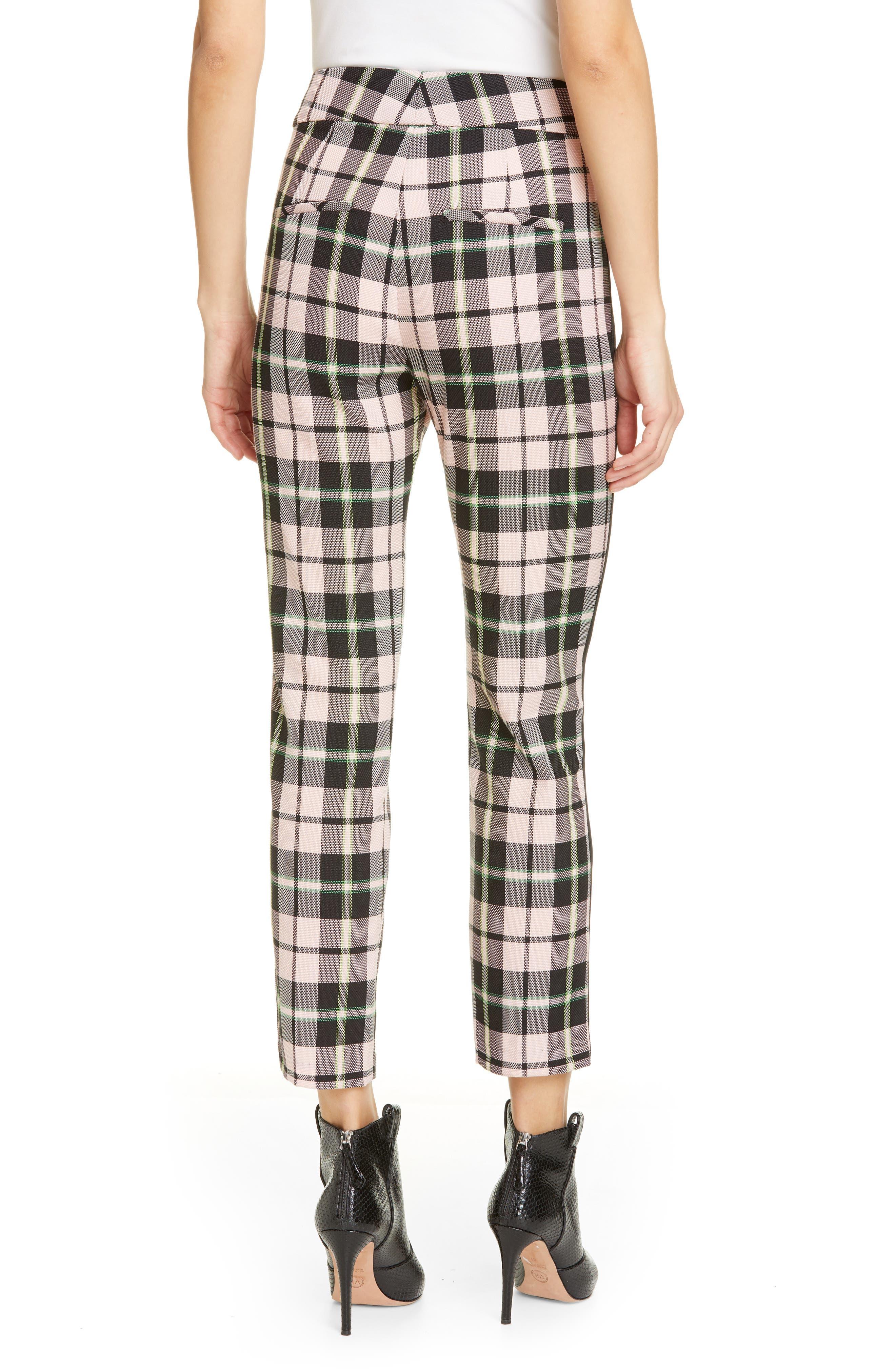 ,                             Gemini Plaid Crop Trousers,                             Alternate thumbnail 2, color,                             PINK MULTI