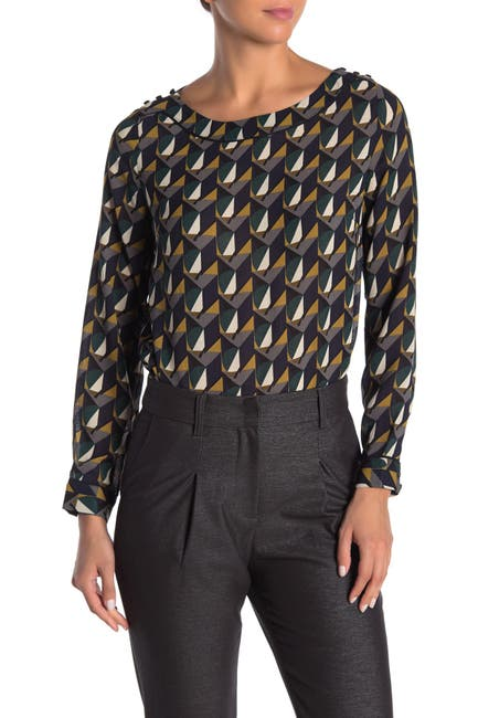 Image of FRNCH Long Sleeve Abstract Print Blouse
