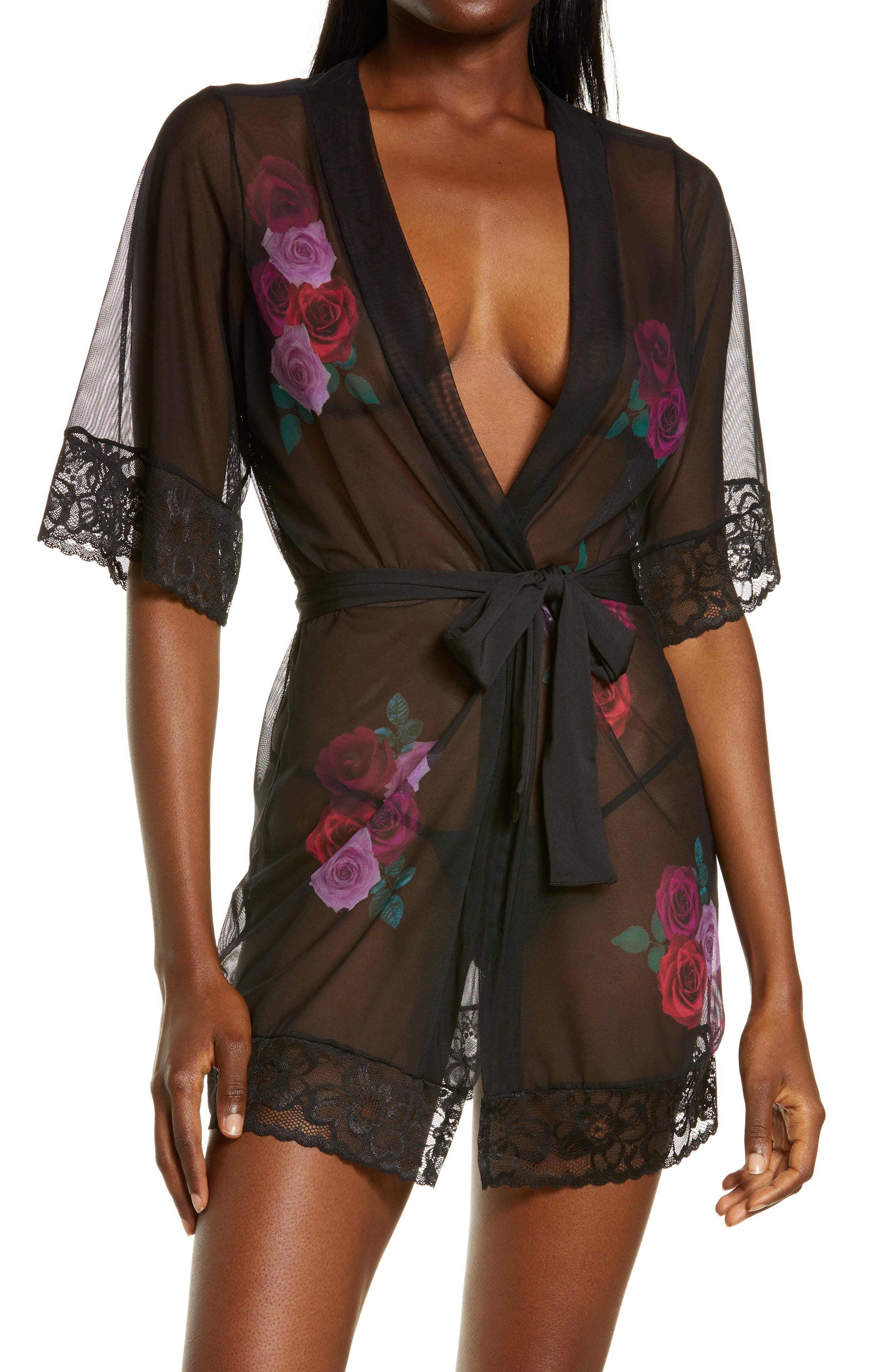 Floral Print Mesh Robe With Thong