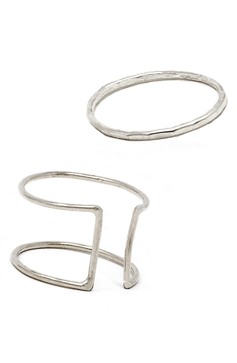 ABLE Set of 2 Stacking Rings, Main, color, SILVER