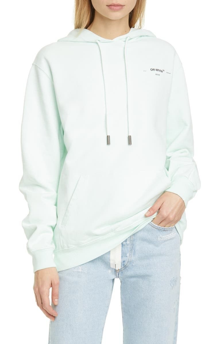OFF-WHITE Coral Logo Hoodie, Main, color, LIGHT BLUE