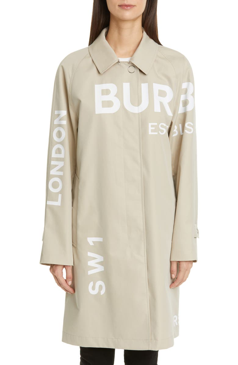 BURBERRY Antonia Logo Print Cotton Gabardine Car Coat, Main, color, STONE