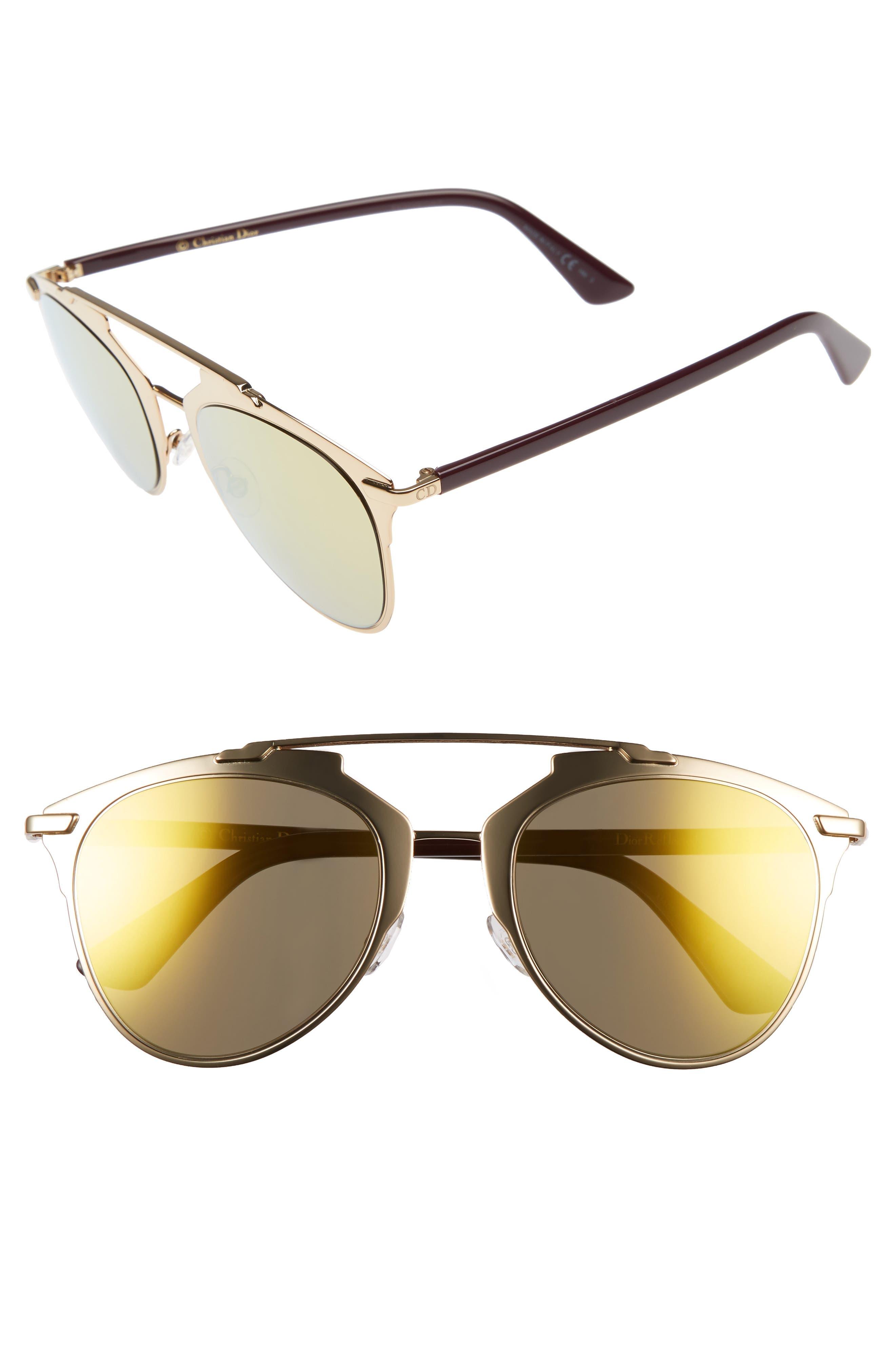 ,                             Reflected 52mm Brow Bar Sunglasses,                             Main thumbnail 49, color,                             716