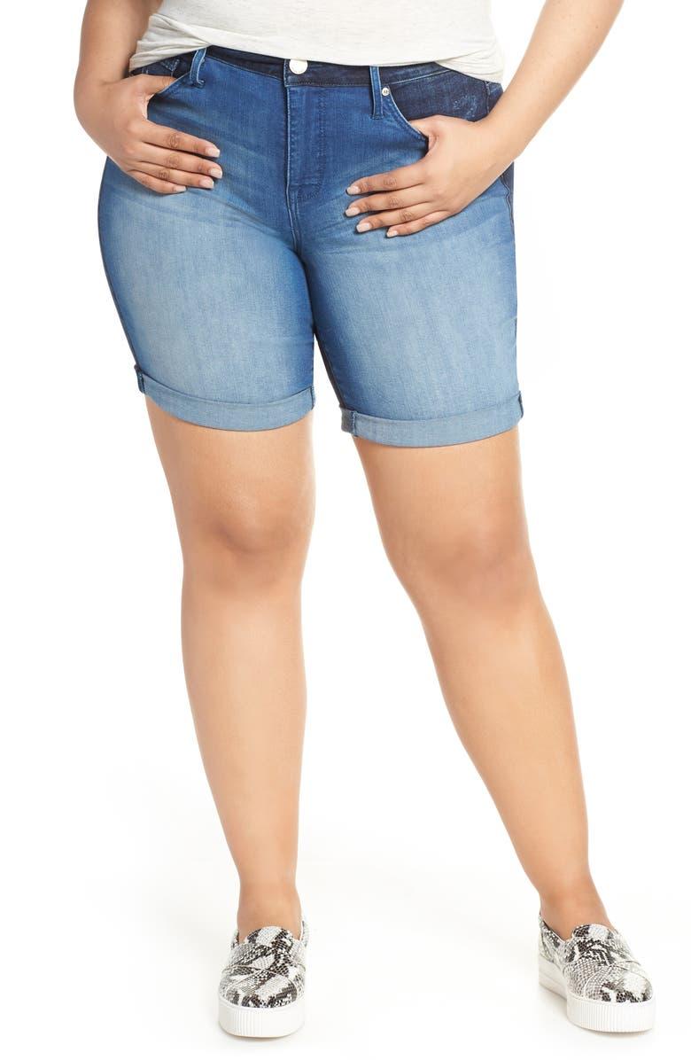 Seven7 Weekend Two Tone Bermuda Shorts Gemini Plus Size