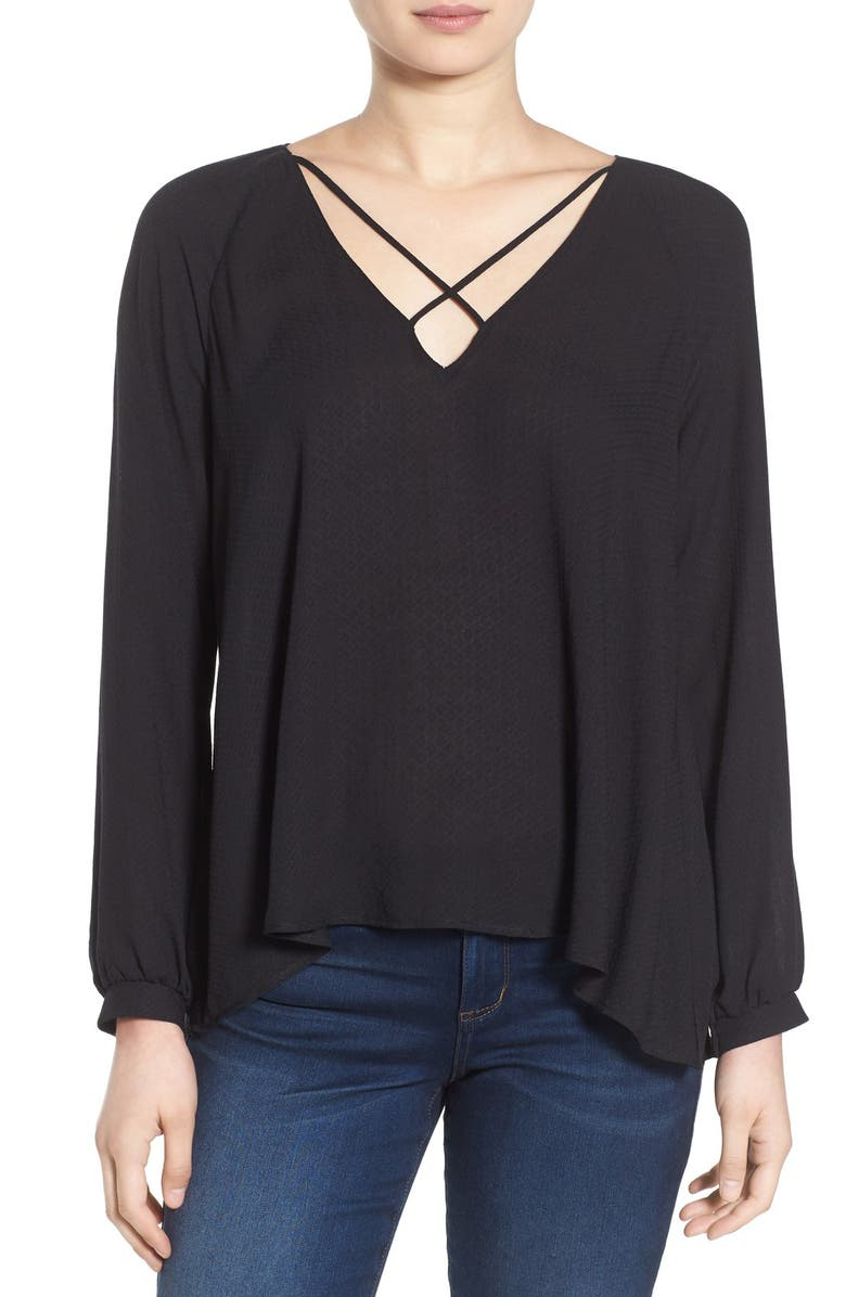 --- Strappy Long Sleeve Woven Blouse, Main, color, 001