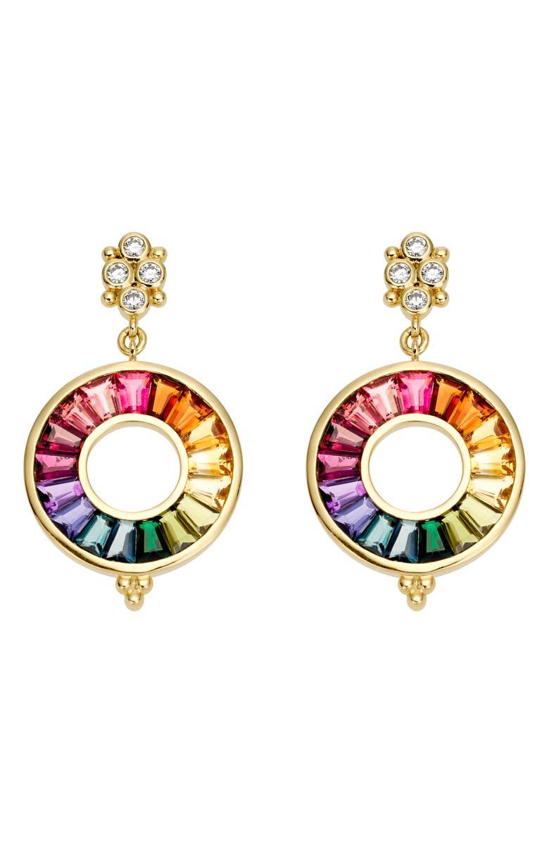 TEMPLE ST. CLAIR Small Color Wheel Diamond & Tourmaline Drop Earrings, Main, color, MIX SET/ DIAMOND