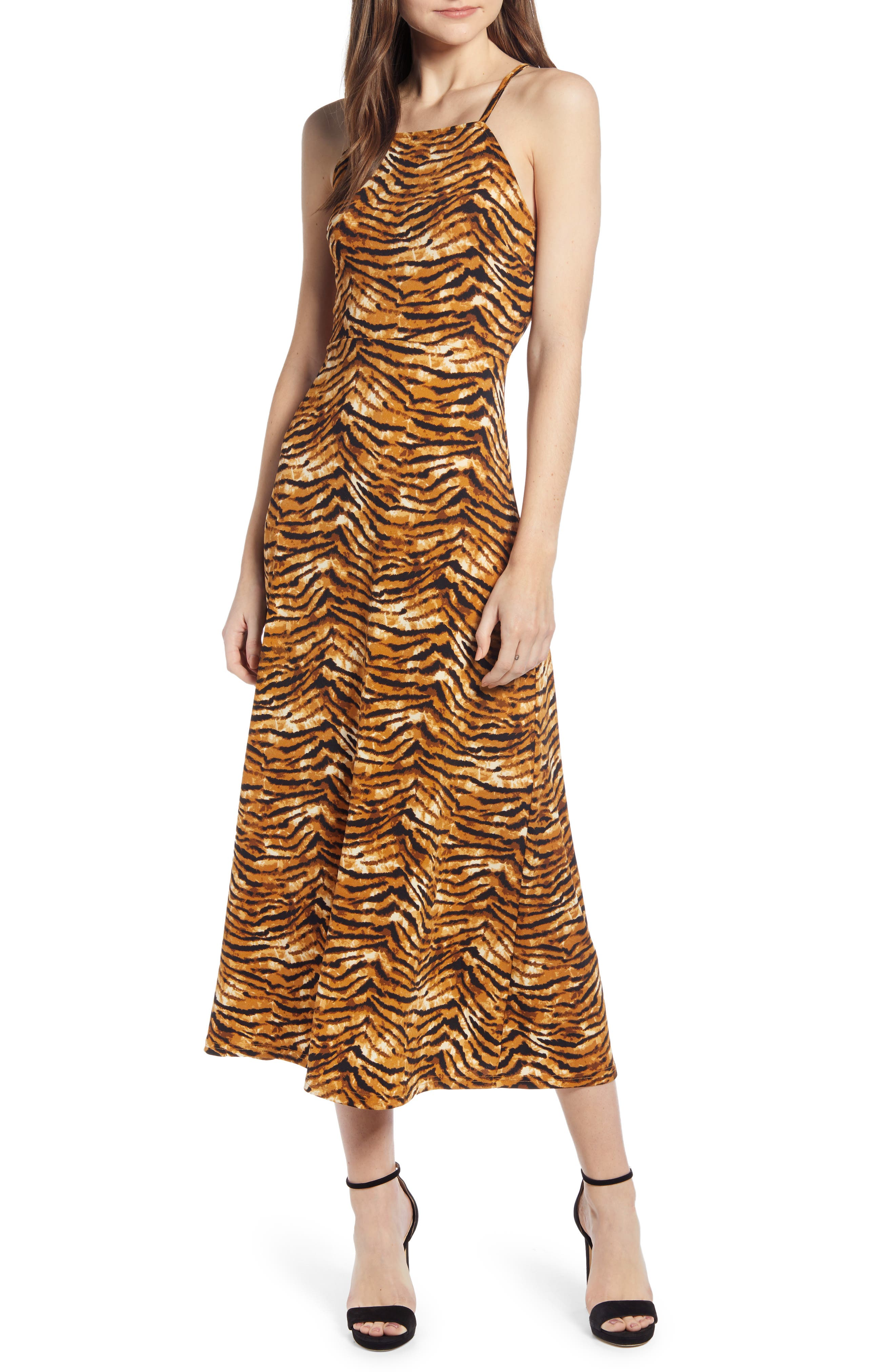 J.o.a. Cheetah Print Lace-Up Back Midi Dress, Brown