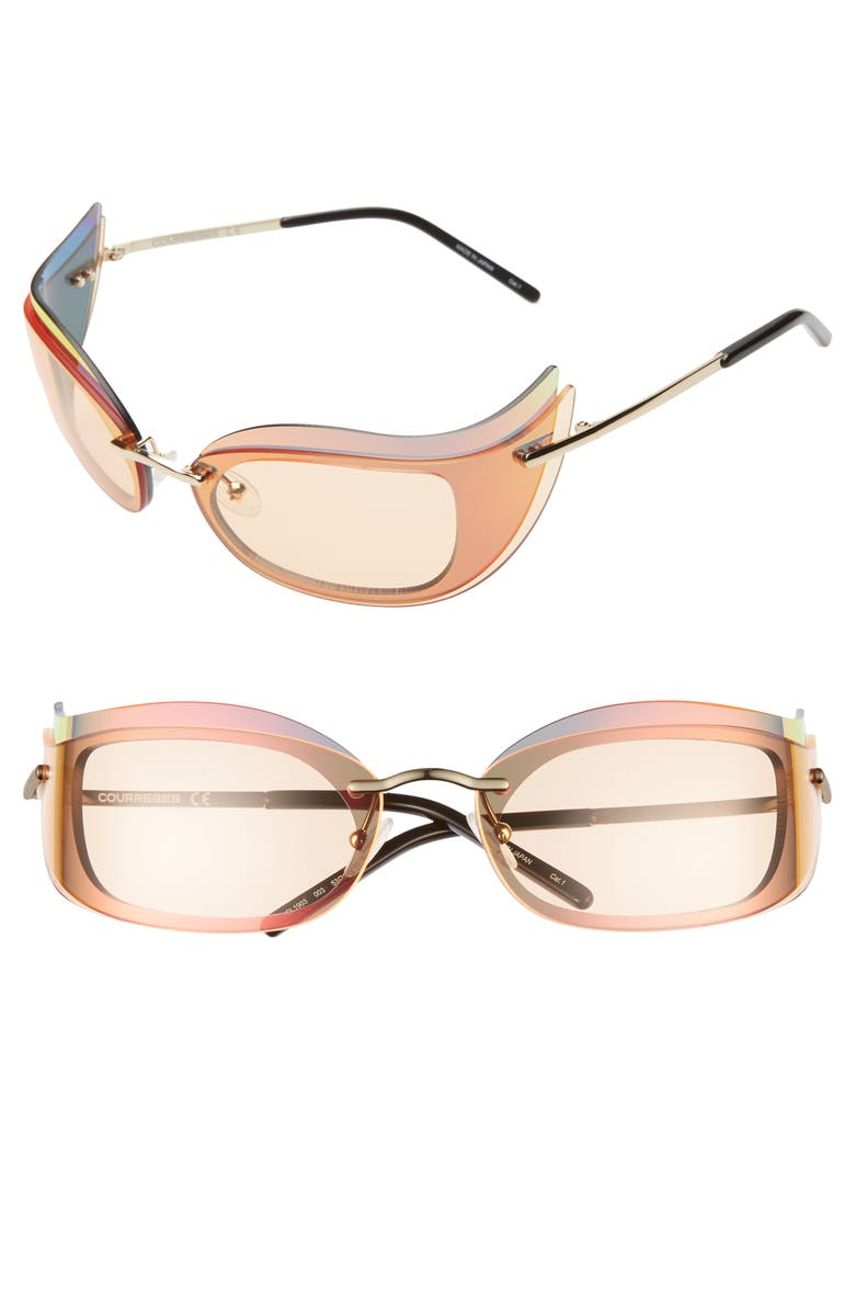 COURREGES The Make Up 53mm Layered Cat Eye Sunglasses, Main, color, 711