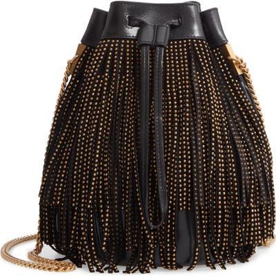 Saint Laurent Talitha Studded Fringe Leather Bucket Bag - Black