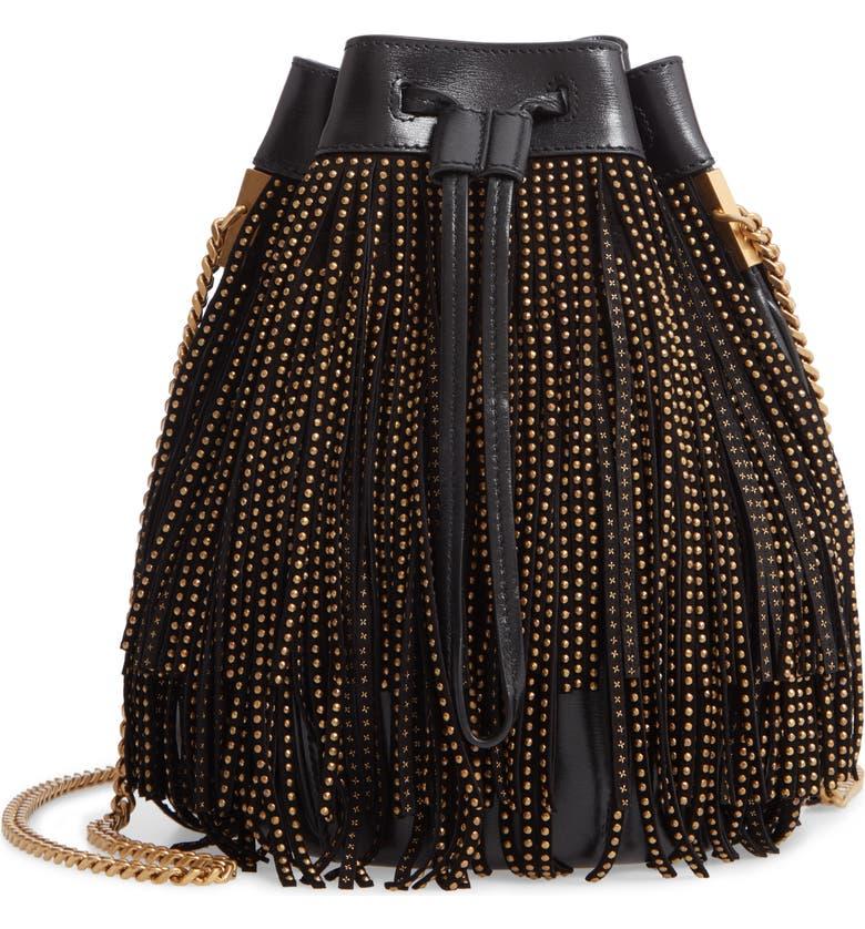 SAINT LAURENT Talitha Studded Fringe Leather Bucket Bag, Main, color, 001