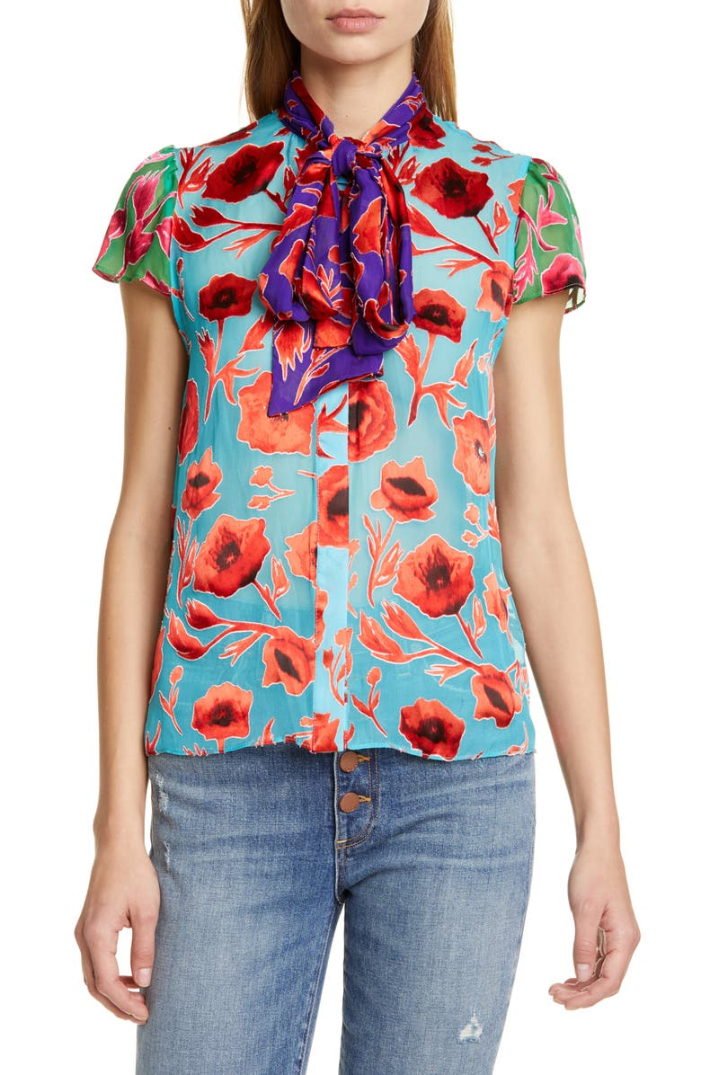 ALICE + OLIVIA Jeannie Bow Neck Floral Burnout Top, Main, color, POPPY GARDEN BLUEBIRD