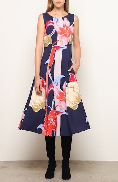 Large Lily Print Crepe Midi Dress, video thumbnail