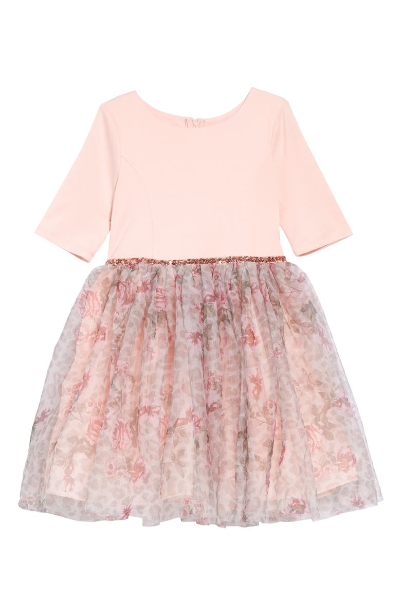 ZUNIE Fit & Flare Tulle Dress, Main, color, BLUSH/ FLORAL