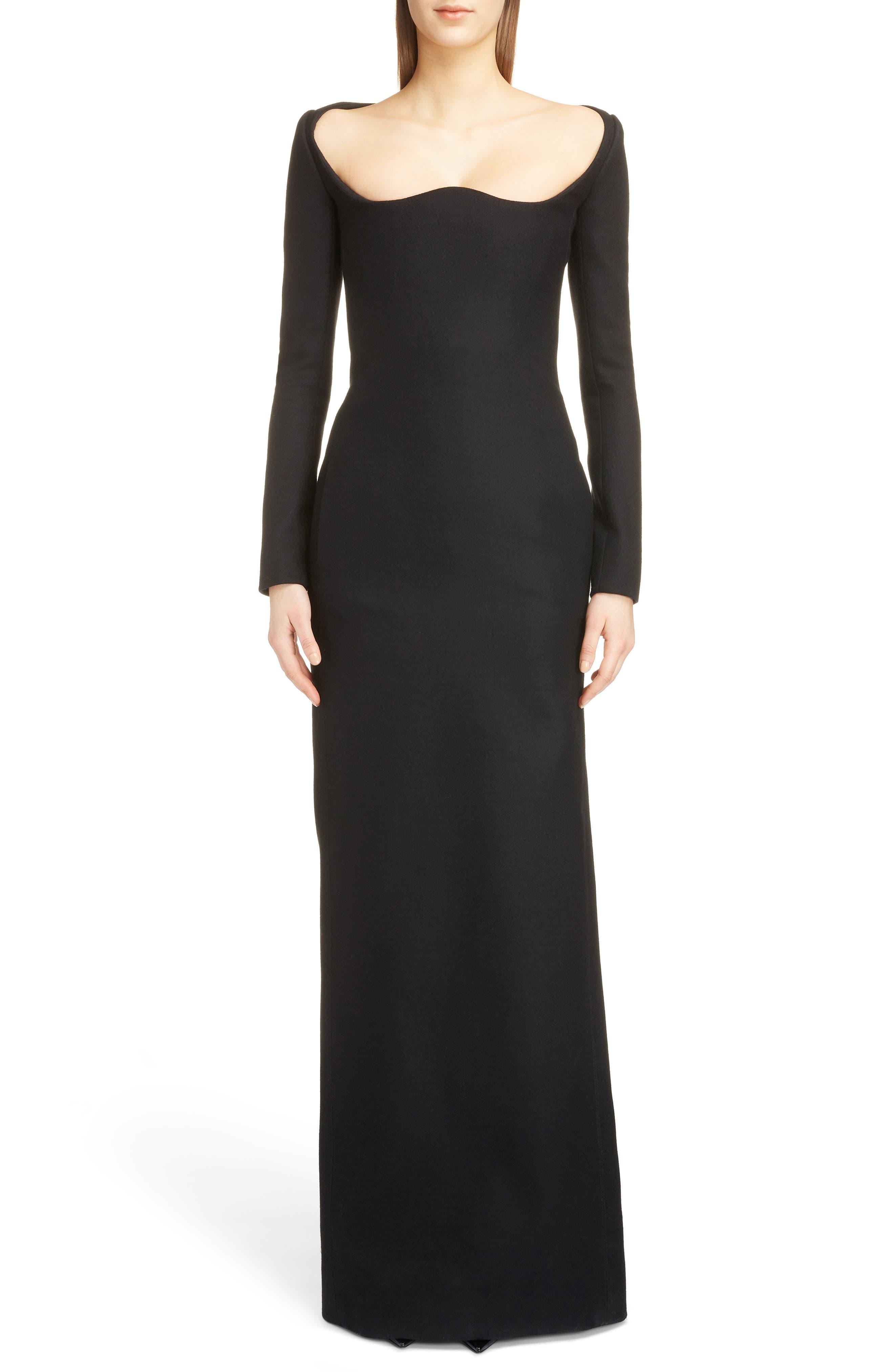 Saint Laurent Long Sleeve Wool Gown