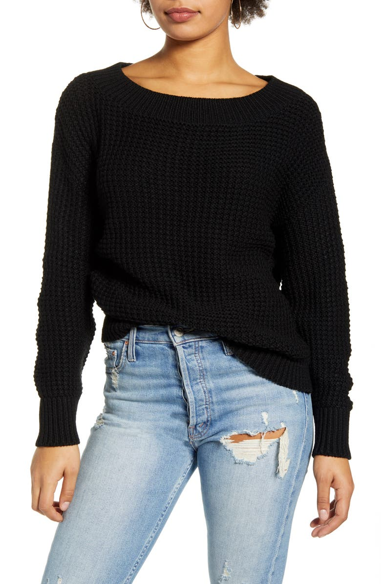 LEITH Shaker Stitch Ballet Neck Sweater, Main, color, BLACK