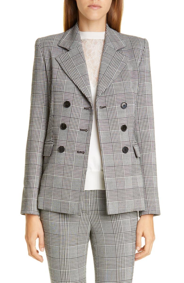 ADAM LIPPES Double Breasted Plaid Wool Blazer, Main, color, BLACK/ WHITE MULTI