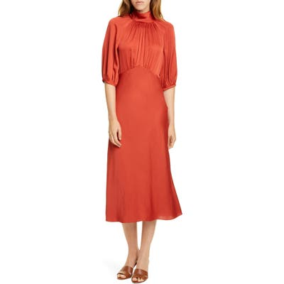 Rebecca Taylor Tie Neck Satin Dress, Red