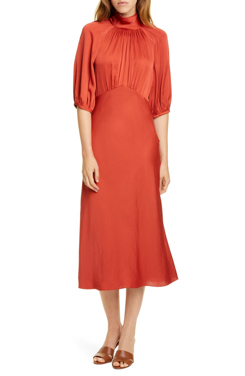 REBECCA TAYLOR Tie Neck Satin Dress, Main, color, CARNELIAN