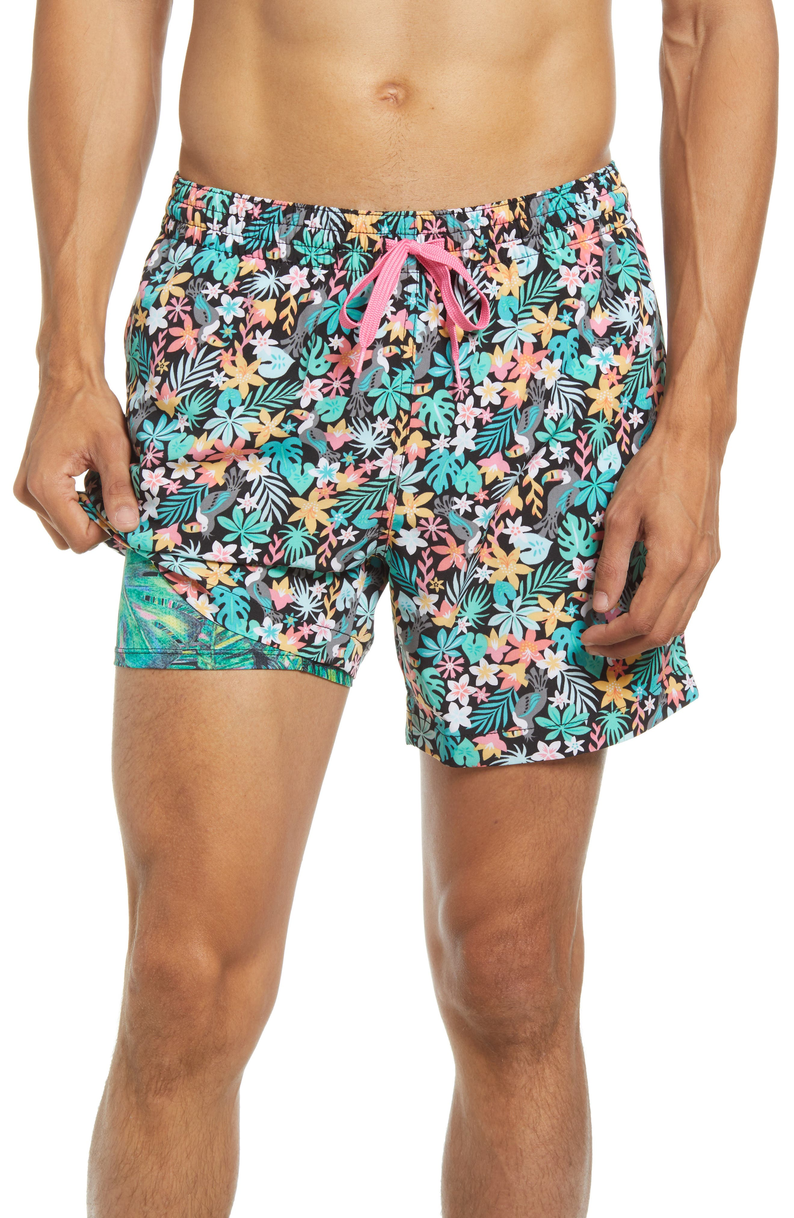 The Bloomerangs Floral 5.5-Inch Swim Trunks