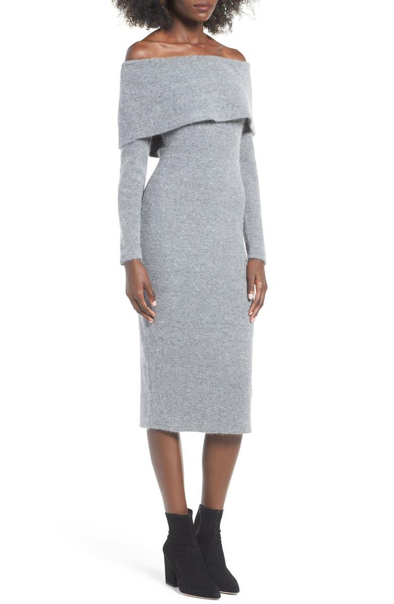 J.O.A. Off the Shoulder Sweater Dress, Main, color, Grey