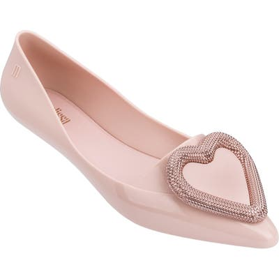 Melissa Pointy Heart Jelly Flat, Pink
