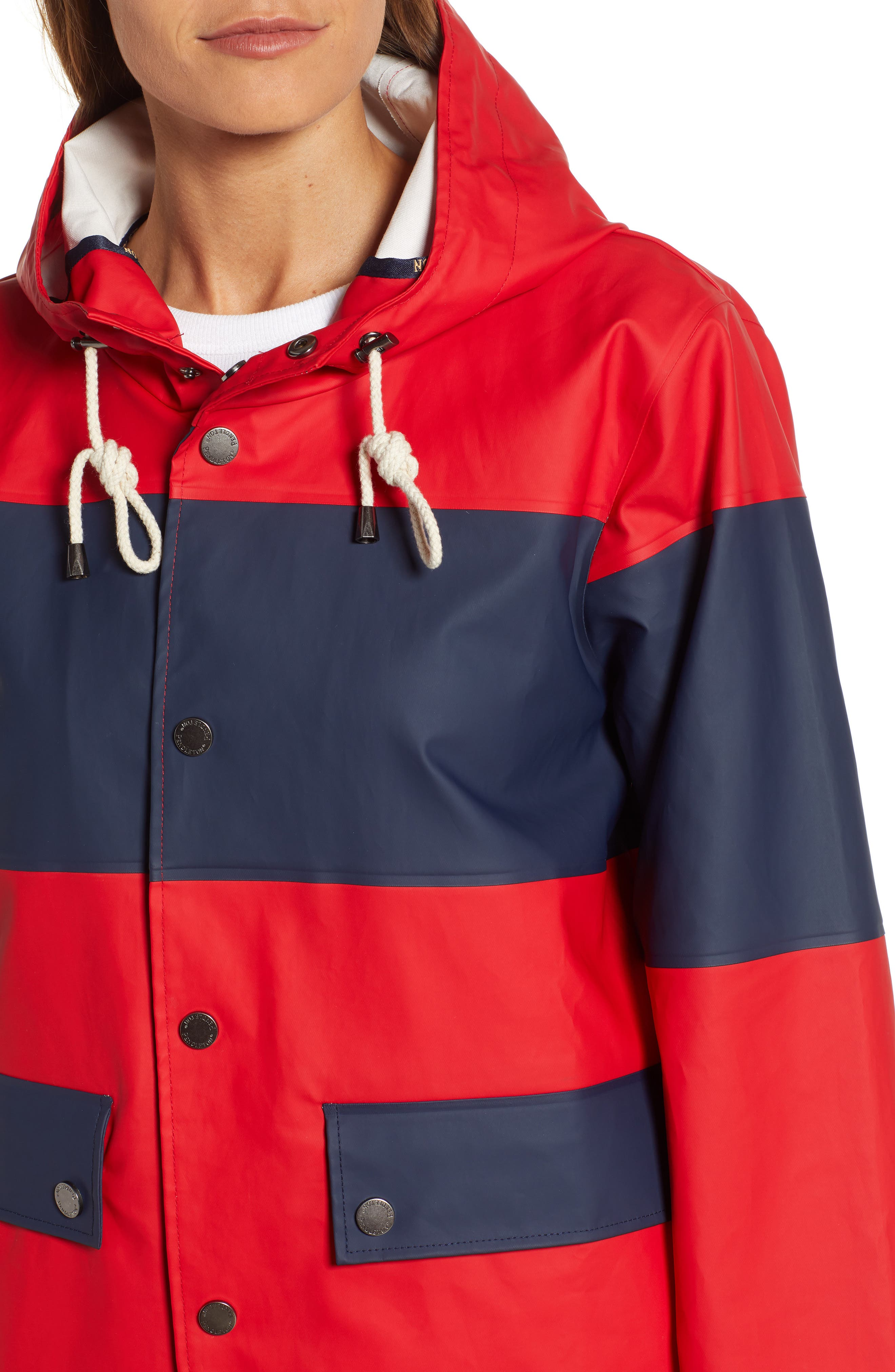 ,                             Seaside Hooded Rain Jacket,                             Alternate thumbnail 5, color,                             RED/ NAVY