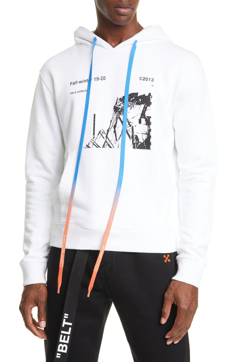 OFF-WHITE Ruined Factory Slim Fit Hoodie, Main, color, WHITE/ BLACK
