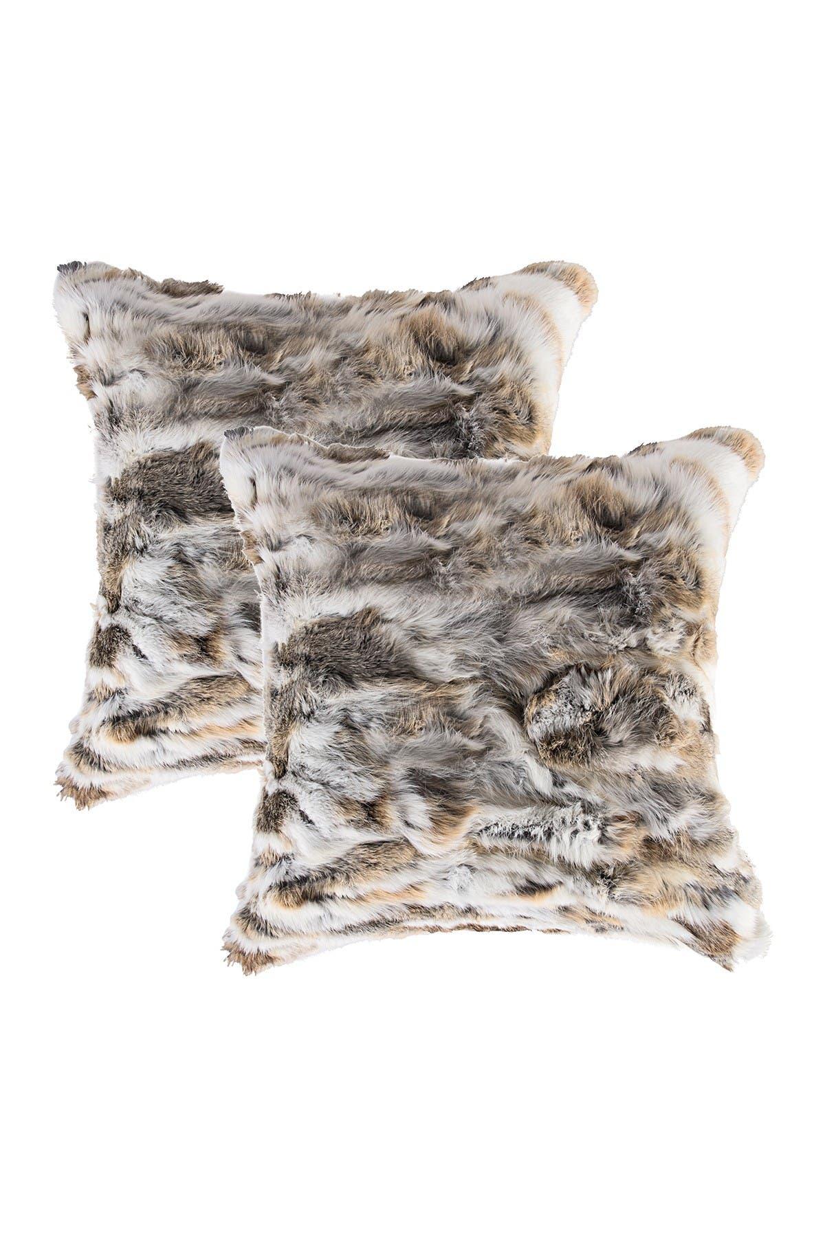 "Image of Natural Genuine Rabbit Fur Pillow - Set of 2 - 18"" x 18"" - Tan/White"