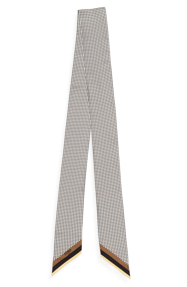 FENDI Wrappy Gingham Silk Skinny Scarf, Main, color, 001
