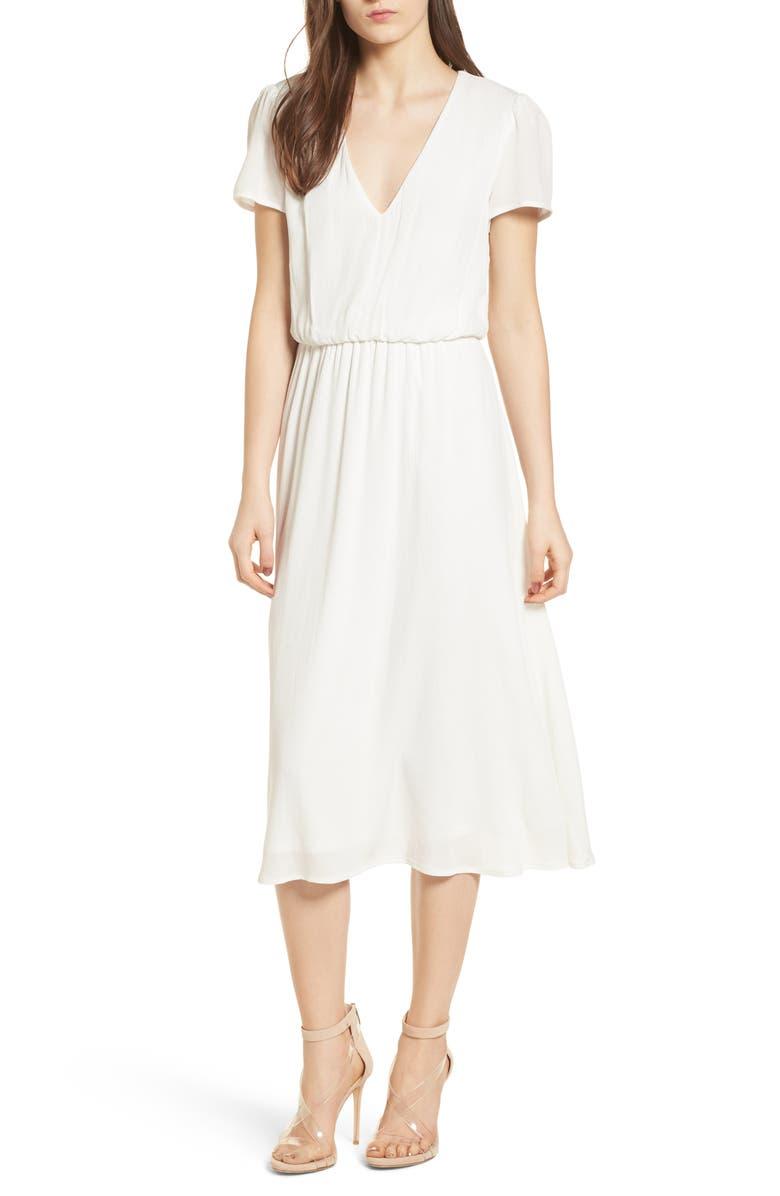 WAYF Blouson Dress, Main, color, IVORY