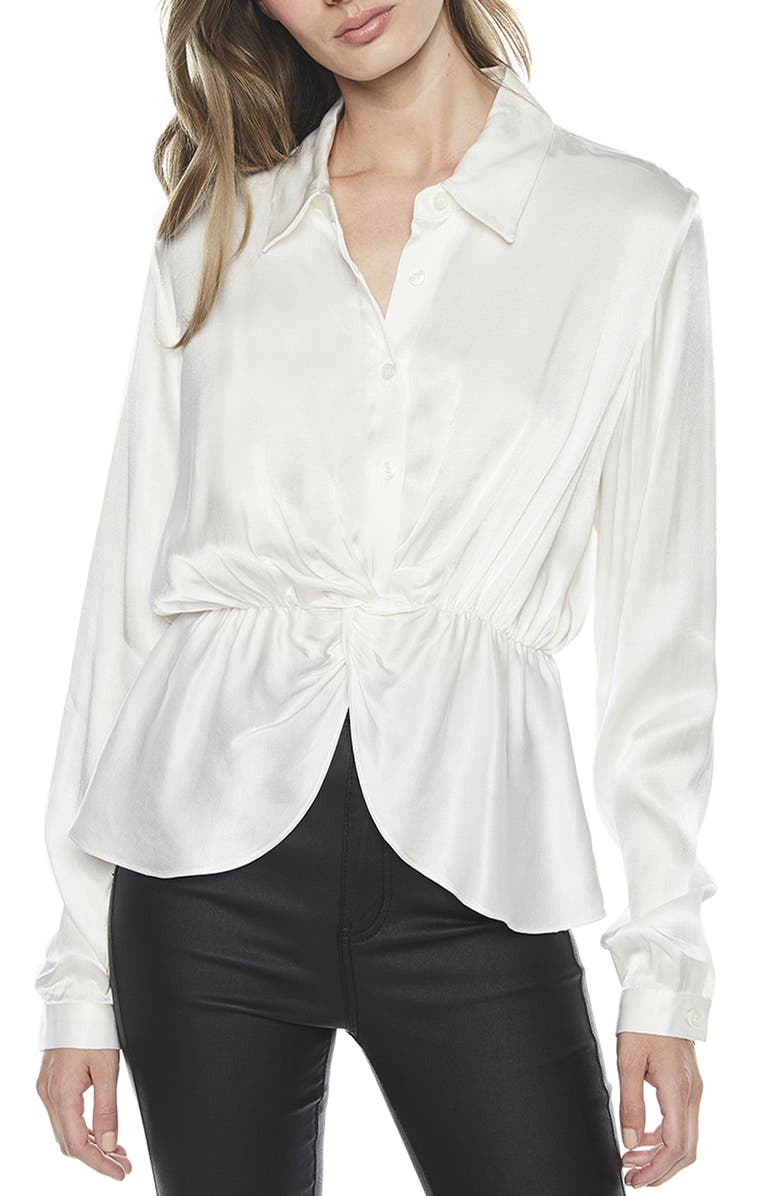 BARDOT Twist Button Front Shirt, Main, color, IVORY