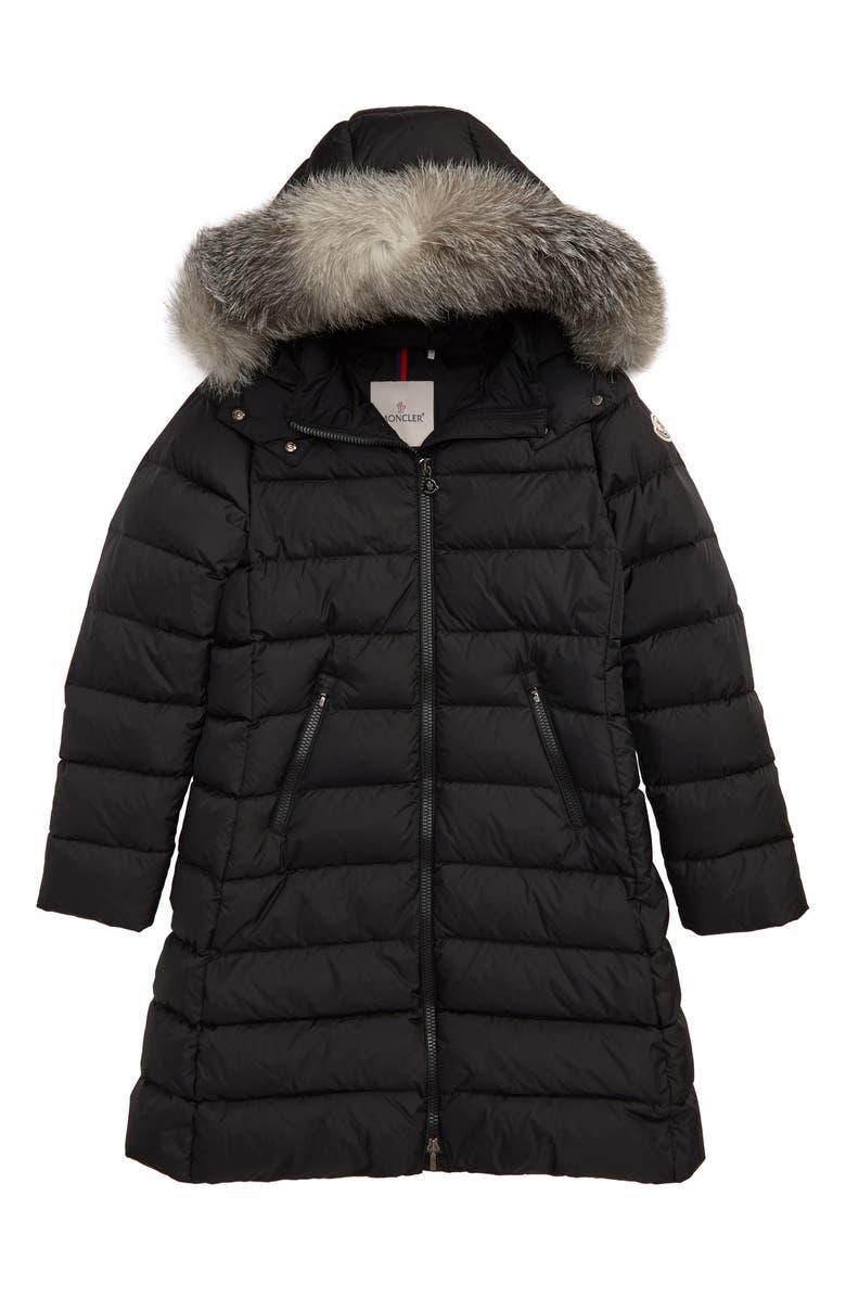 MONCLER Abelle Down Coat with Genuine Blue Fox Fur Trim, Main, color, BLACK