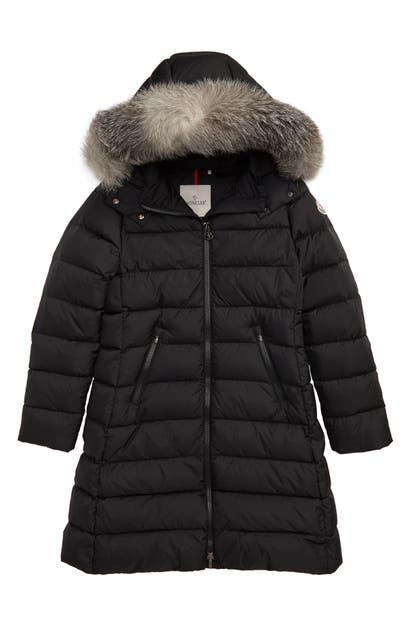 Moncler Girls' Abelle Fur-trim Down Puffer Coat - Big Kid In Black
