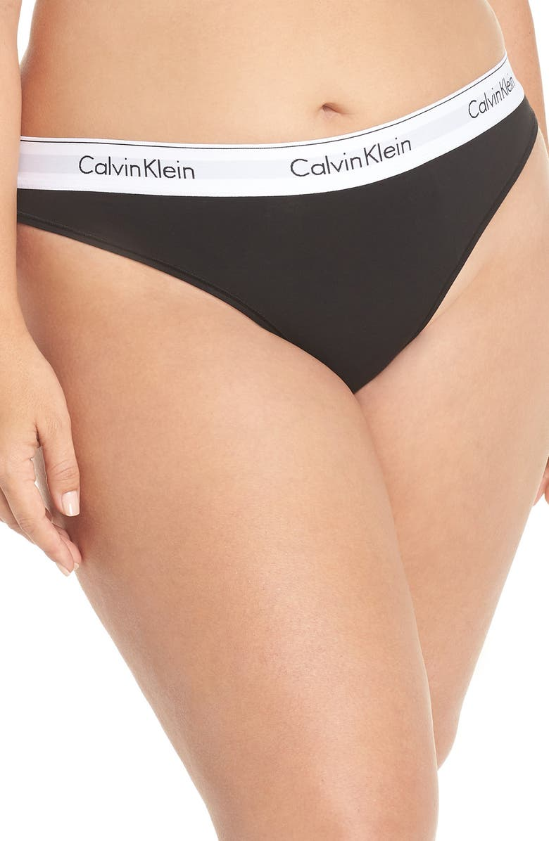 CALVIN KLEIN Modern Cotton-Blend Thong, Main, color, BLACK