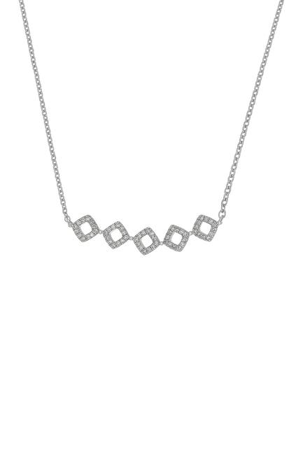 Image of Carriere Sterling Silver Pave Diamond Geo Shape Frontal Necklace - 0.20 ctw