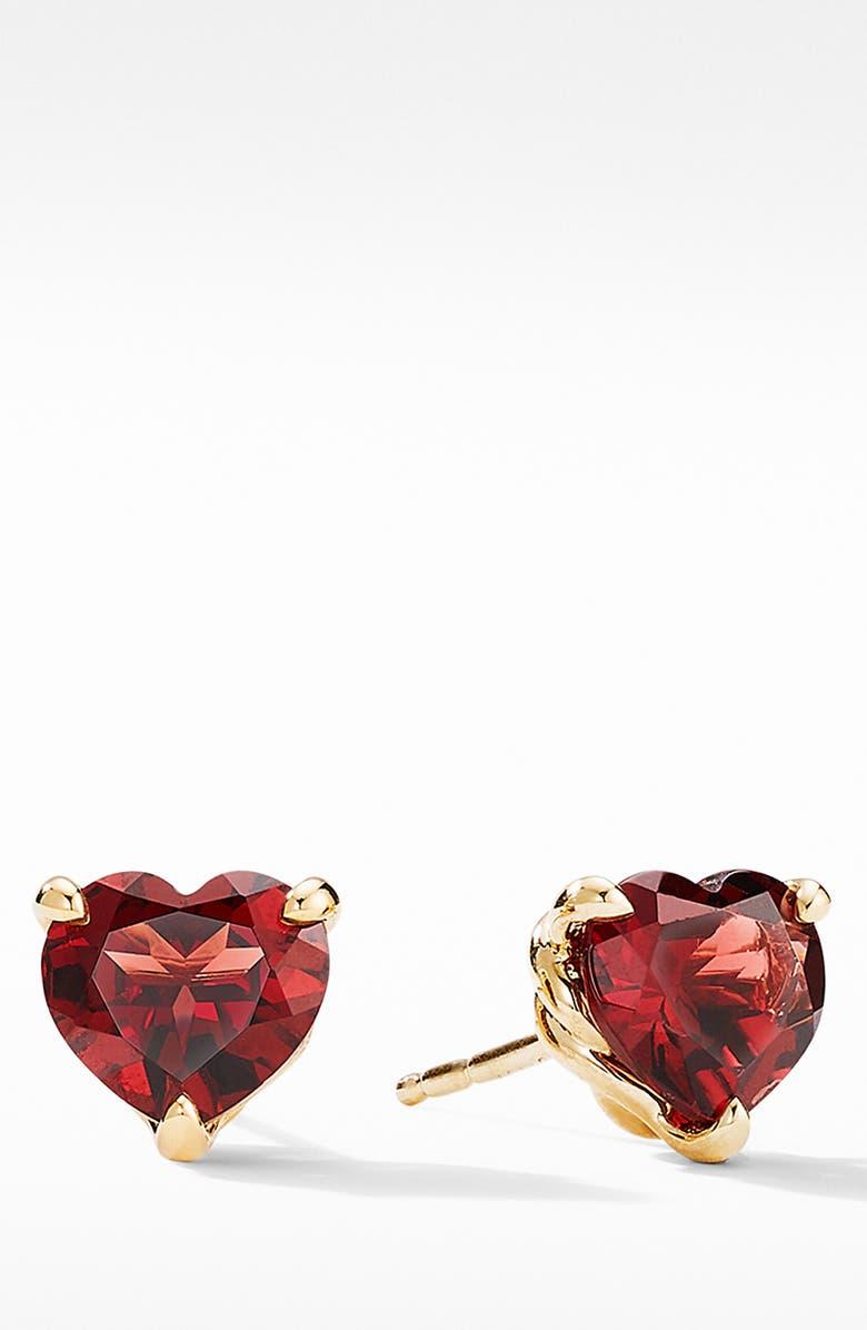 DAVID YURMAN Heart Stud Earrings in 18K Yellow Gold with Garnet, Main, color, GARNET