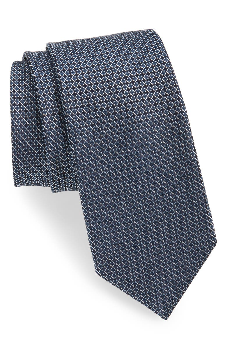 BOSS Geometric Plaid Silk Tie, Main, color, NAVY