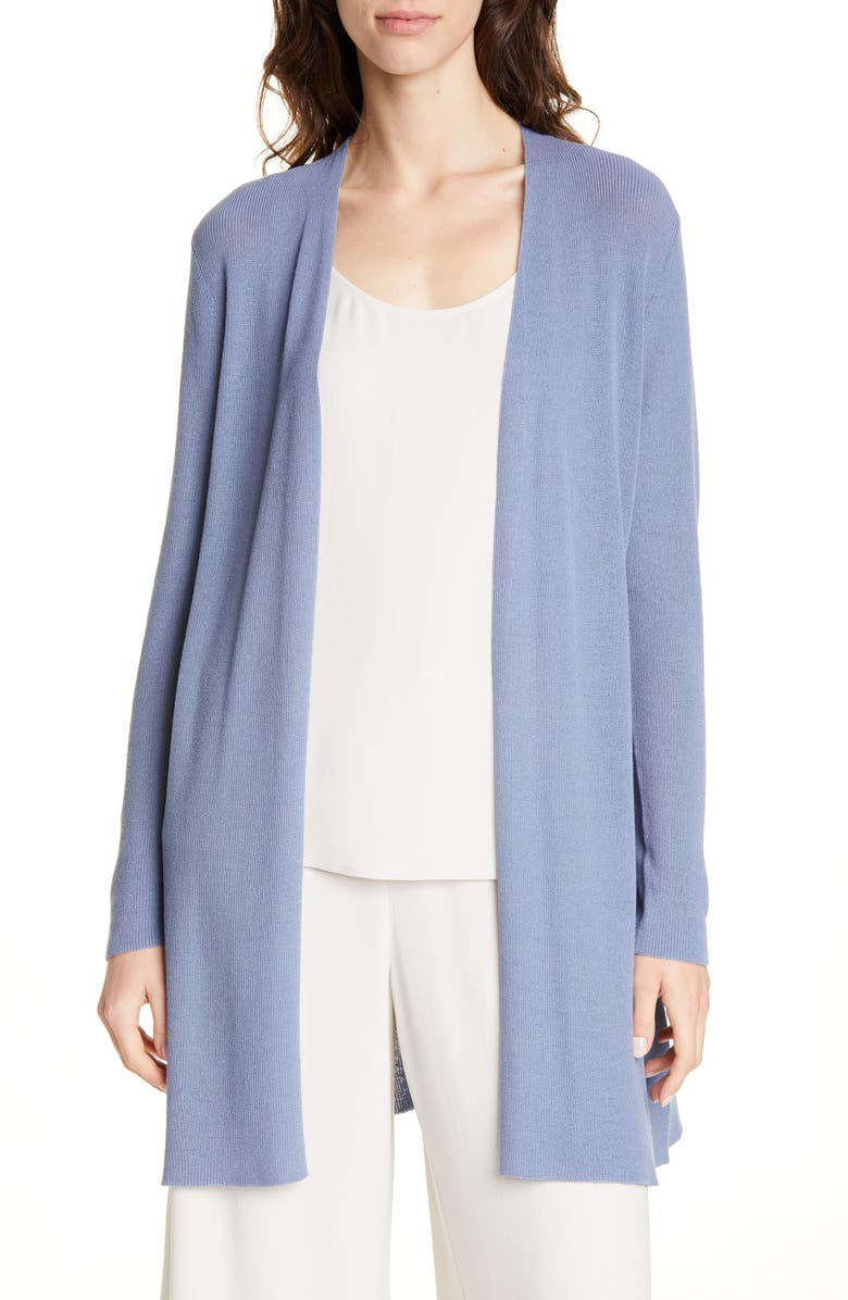 EILEEN FISHER Open Front Cardigan, Main, color, CHAMBRAY