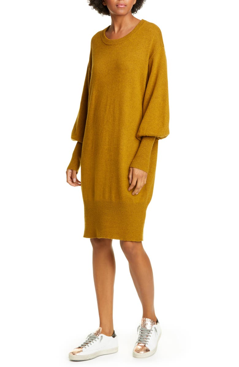NSF CLOTHING Elise Balloon Sleeve Cotton Blend Sweater, Main, color, OCHRE