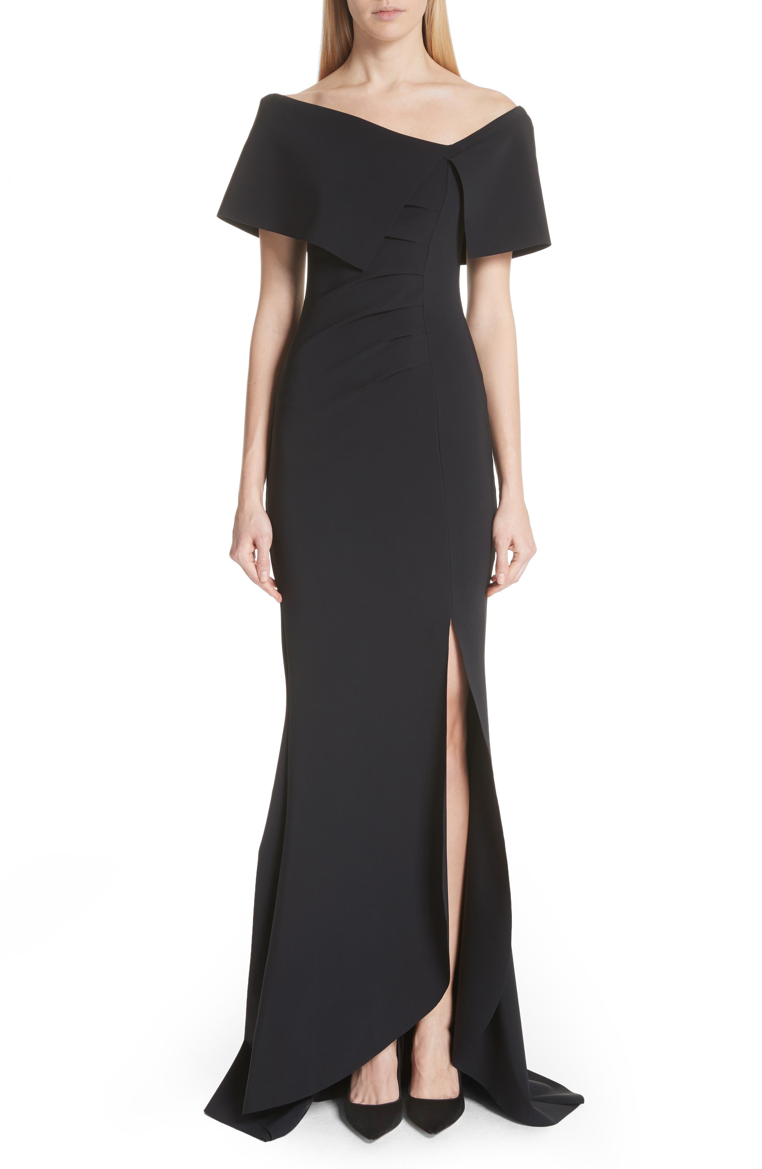 Chiara Boni La Petite Robe Asymmetric Neck Mermaid Gown, 6 IT - Black