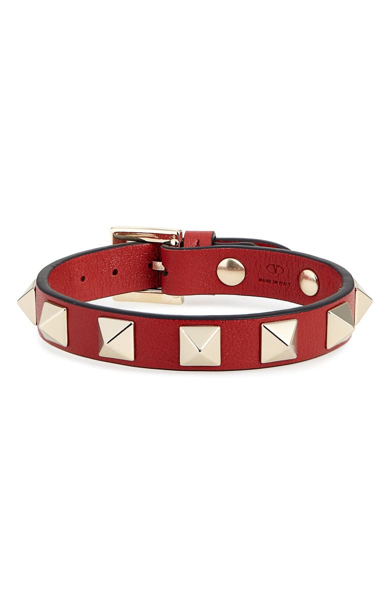 VALENTINO Rockstud Leather Bracelet, Main, color, ROSSO