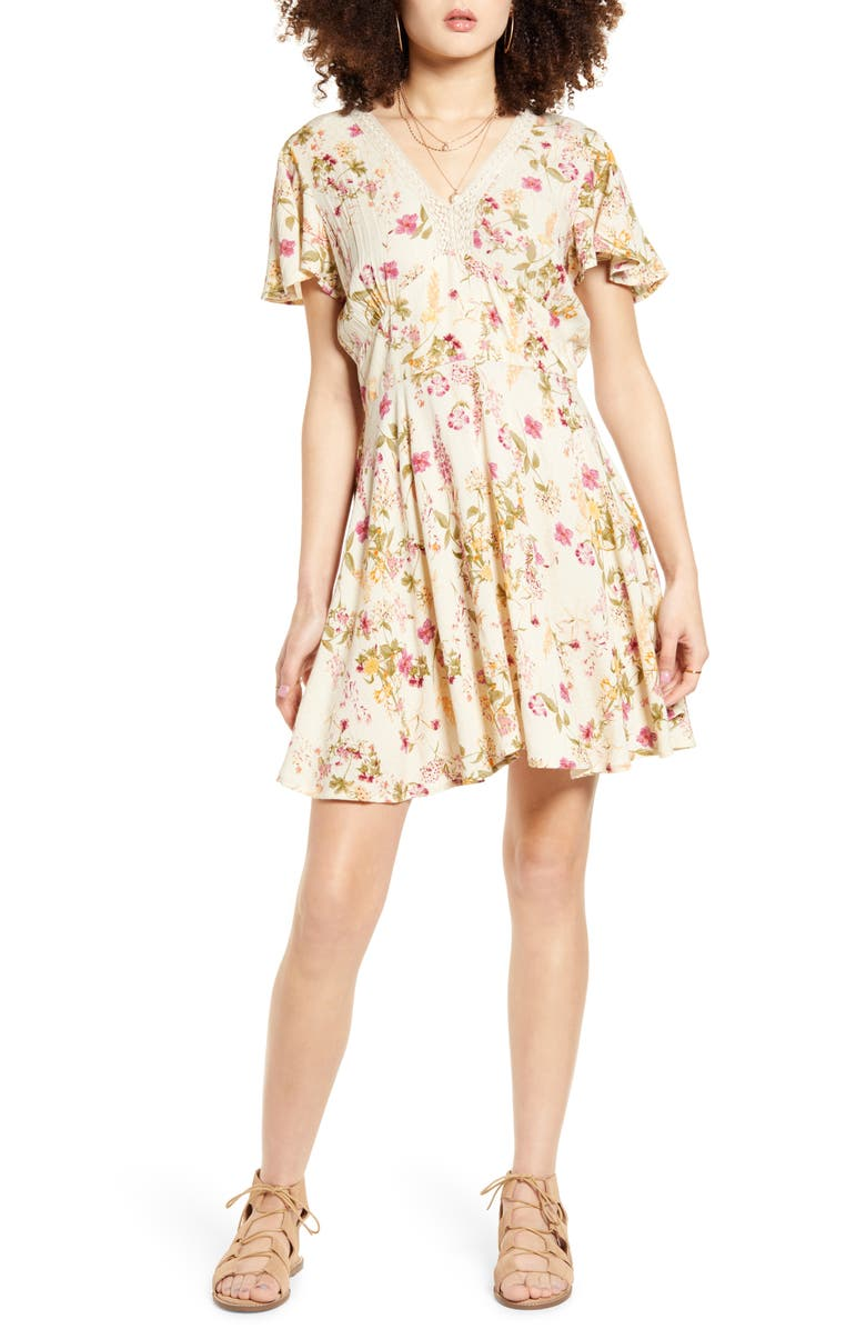 BAND OF GYPSIES Agave Floral Minidress, Main, color, IVORY PINK