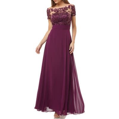 Js Collections Embroidered A-Line Gown, Purple