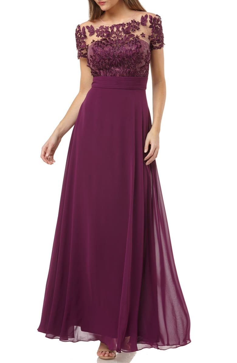 JS COLLECTIONS Embroidered A-Line Gown, Main, color, PLUM
