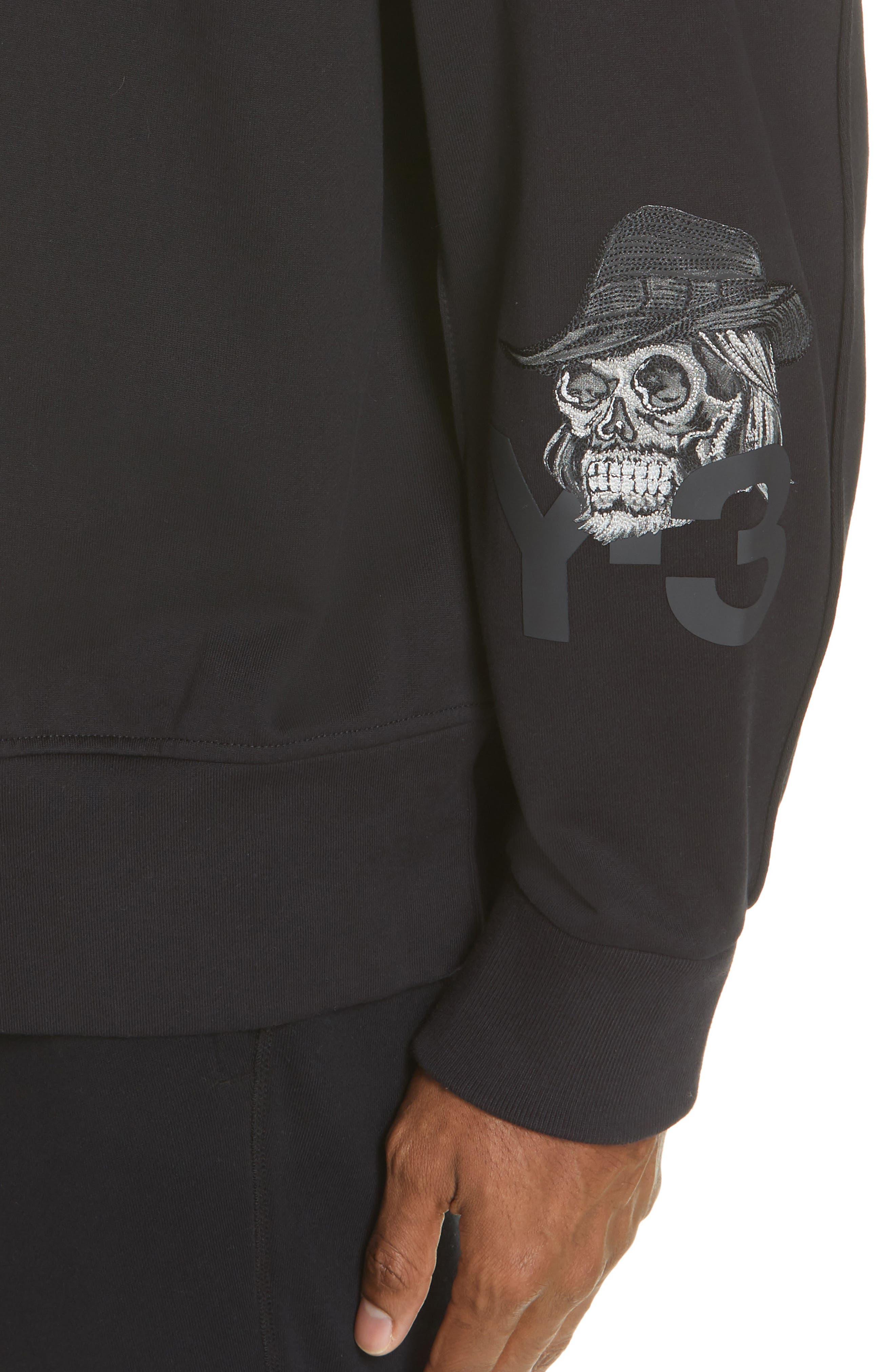 ,                             x adidas Skull Crewneck Sweatshirt,                             Alternate thumbnail 4, color,                             BLACK