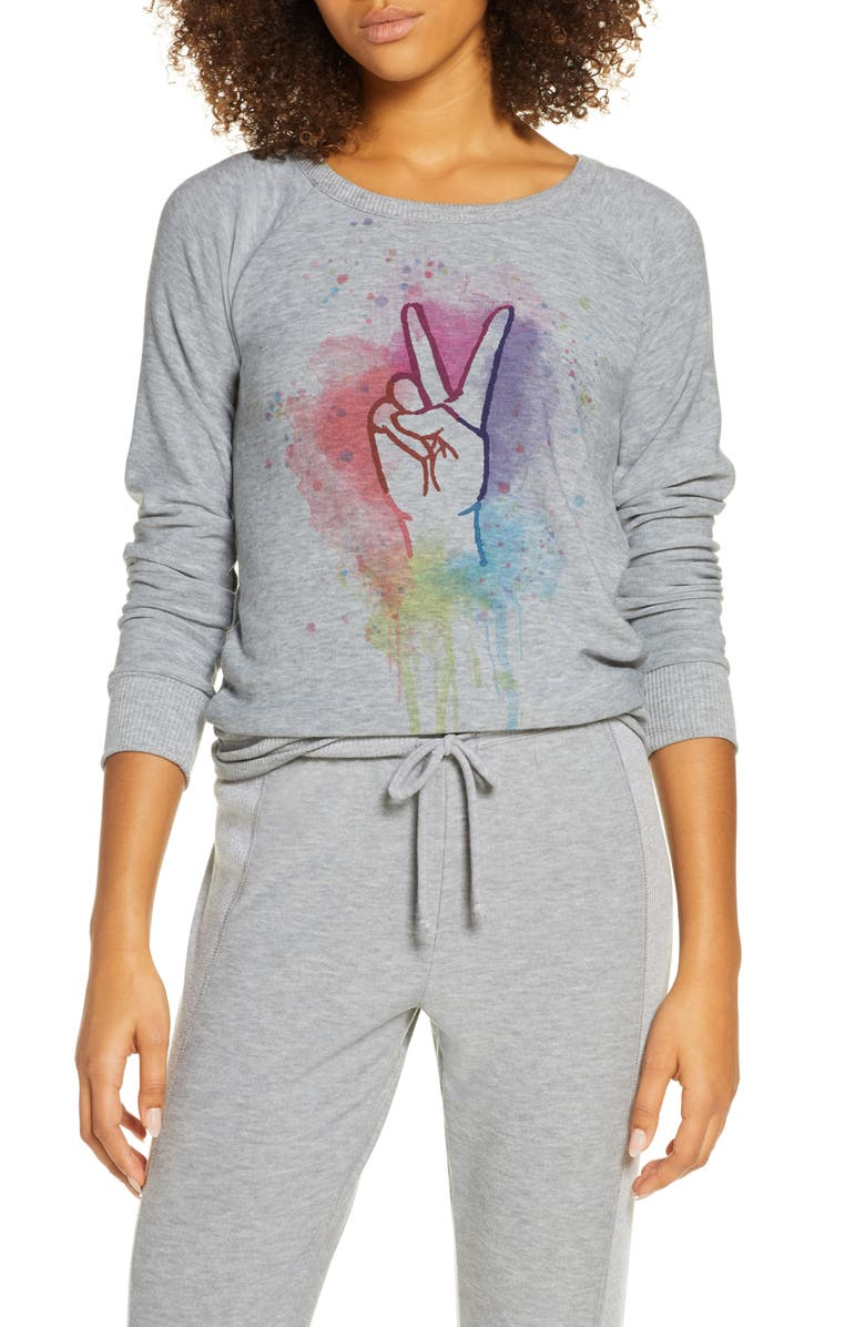 CHASER Rainbow Peace Cozy Pullover, Main, color, H GREY