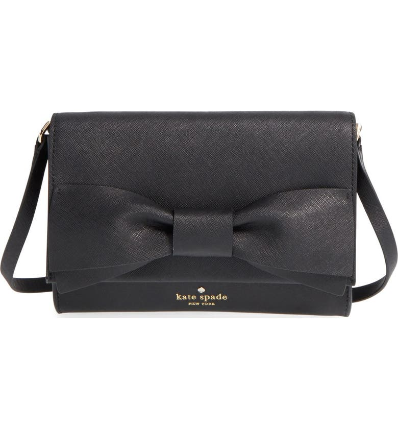 KATE SPADE NEW YORK 'clement street - francie' textured leather clutch, Main, color, 001