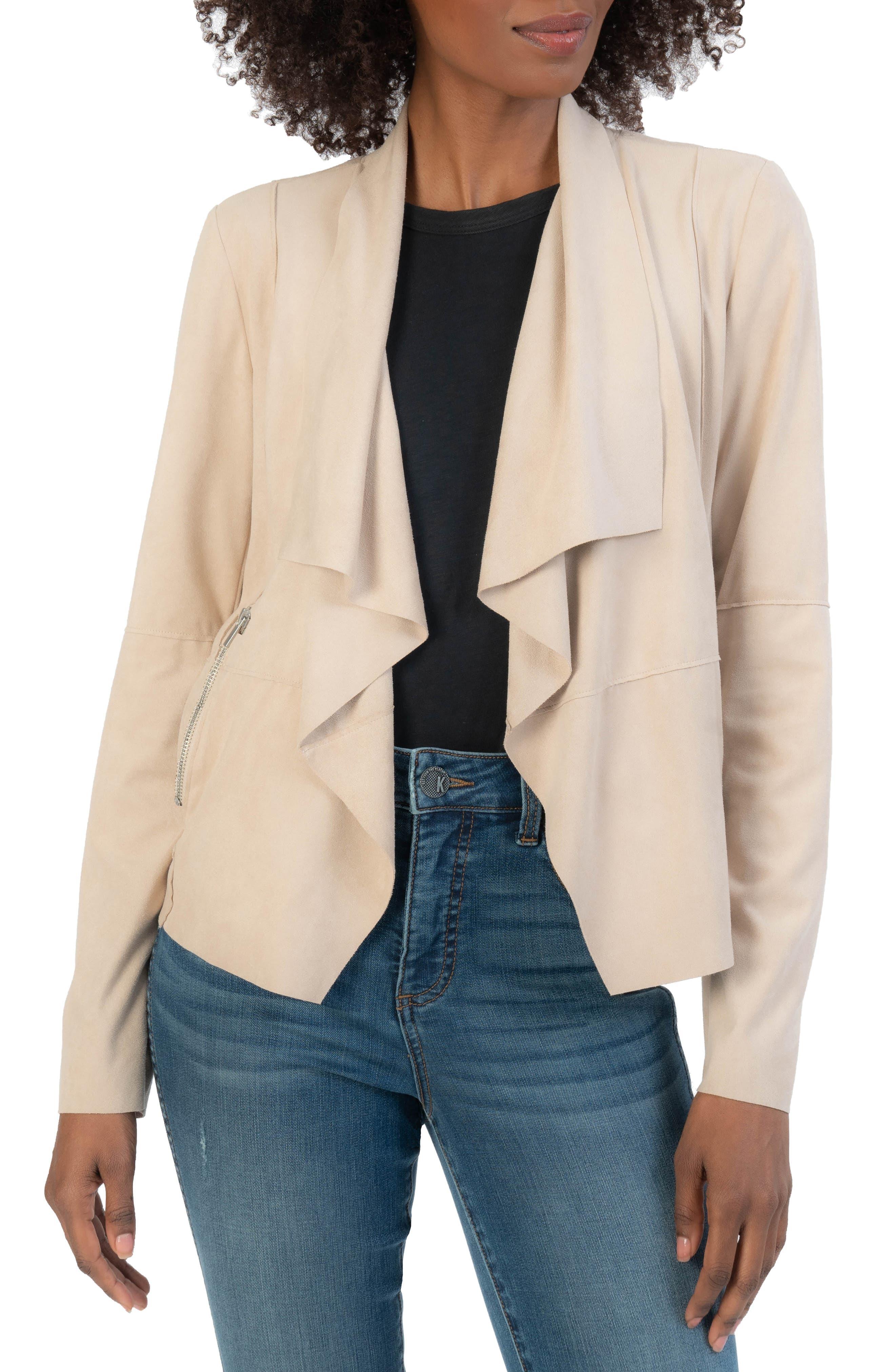 Abigail Drape Front Faux Suede Jacket