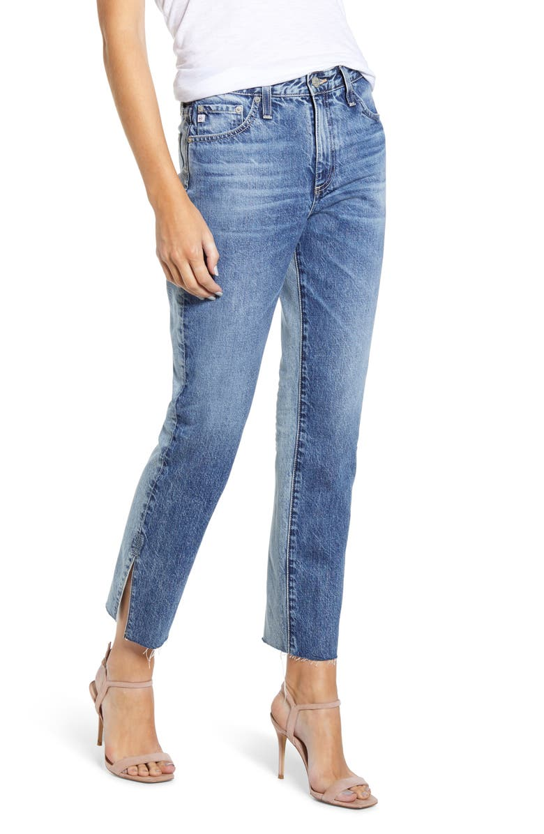 AG The Isabelle High Waist Slit Raw Hem Ankle Straight Leg Jeans, Main, color, 15YRS INDIGO BOUND