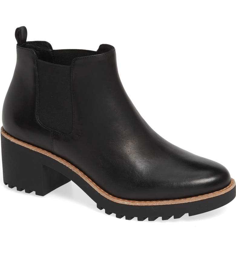 CASLON<SUP>®</SUP> Joshua Water Resistant Bootie, Main, color, BLACK LEATHER